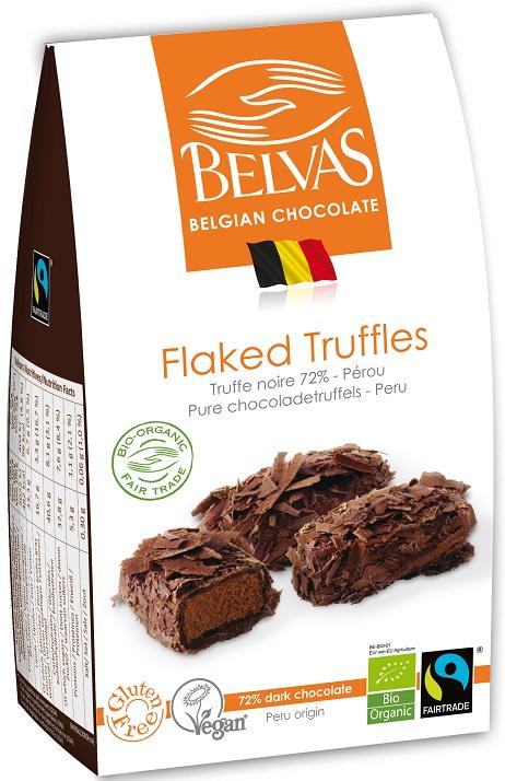 BELVAS Belgijskie czekoladki truffle gorzka czekolada 72% BIO