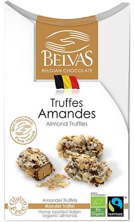 BELVAS Belgijskie czekoladki truffle z migdałami BIO