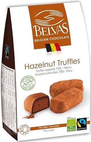 BELVAS Belgijskie czekoladki truffle z orzechami laskowymi BIO
