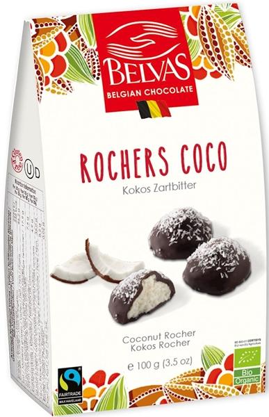 Belvas Belgijskie czekoladki z nadzieniem kokosowym BIO