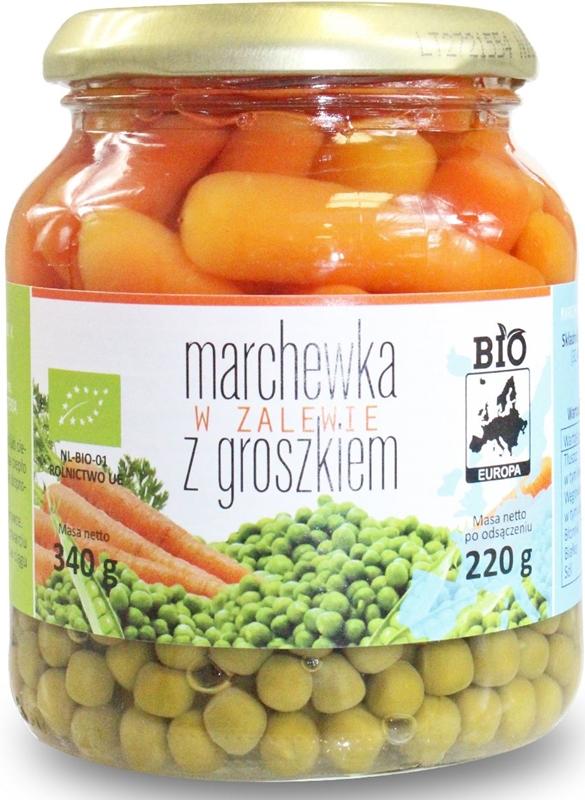 Bio Europa Marchewka w zalewie z groszkiem w słoiku BIO