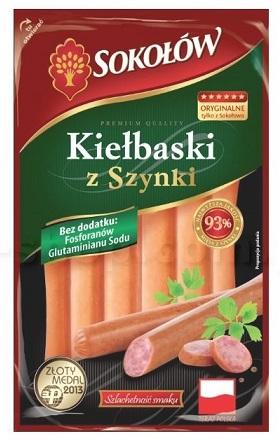 Sokołów Kiełbaski z szynki 93% mięsa z