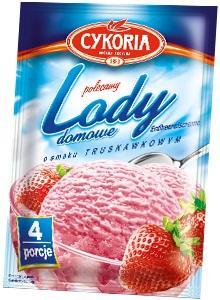 Cykoria Lody domowe  o smaku truskawkowym