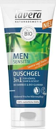 Lavera Men Sensitive Шампунь для волос и тела 3 в 1 с экстрактом biobambusa и bioguarany