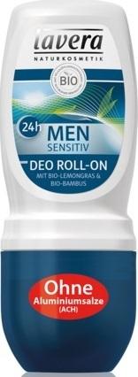 Lavera Men Sensitiv Dezodorant roll-on 24 h z wyciągiem z bio-bamusa i bio-trawy cytrynowej