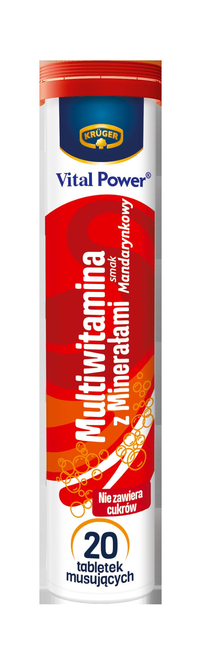 Krüger Multiwitamina z minerałami Suplement diety. Tabletki musujące o smaku mandarynkowym