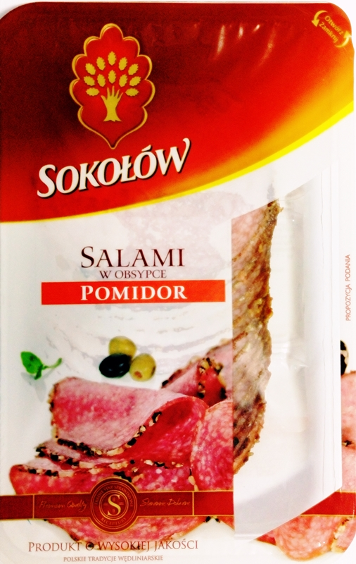 Sokołów Salami w obsypce pomidor