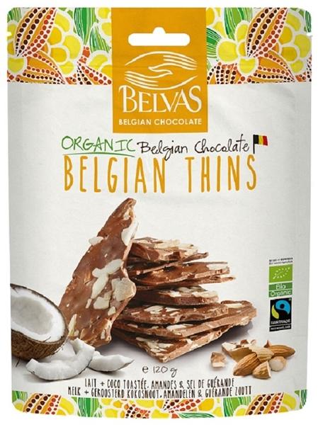 BELVAS Kawałki czekolady mlecznej z migdałami i kokosem BIO
