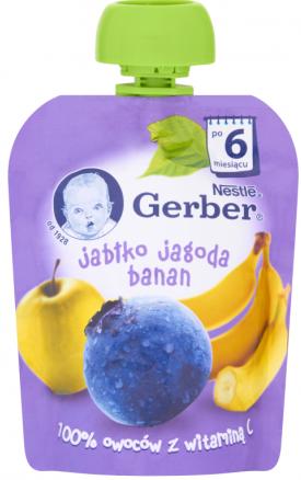Gerber Deser w tubce jabłko jagoda banan