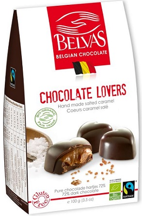 Belvas Belgijskie czekoladki serca z karmelem i solą morską bezglutenowe Fair Trade BIO