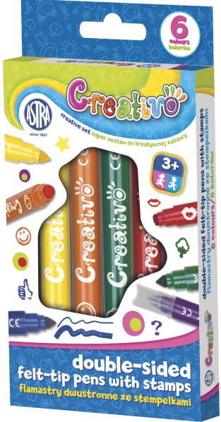 Astra Creativo  Flamastry dwustronne ze stempelkami 6 kolorów