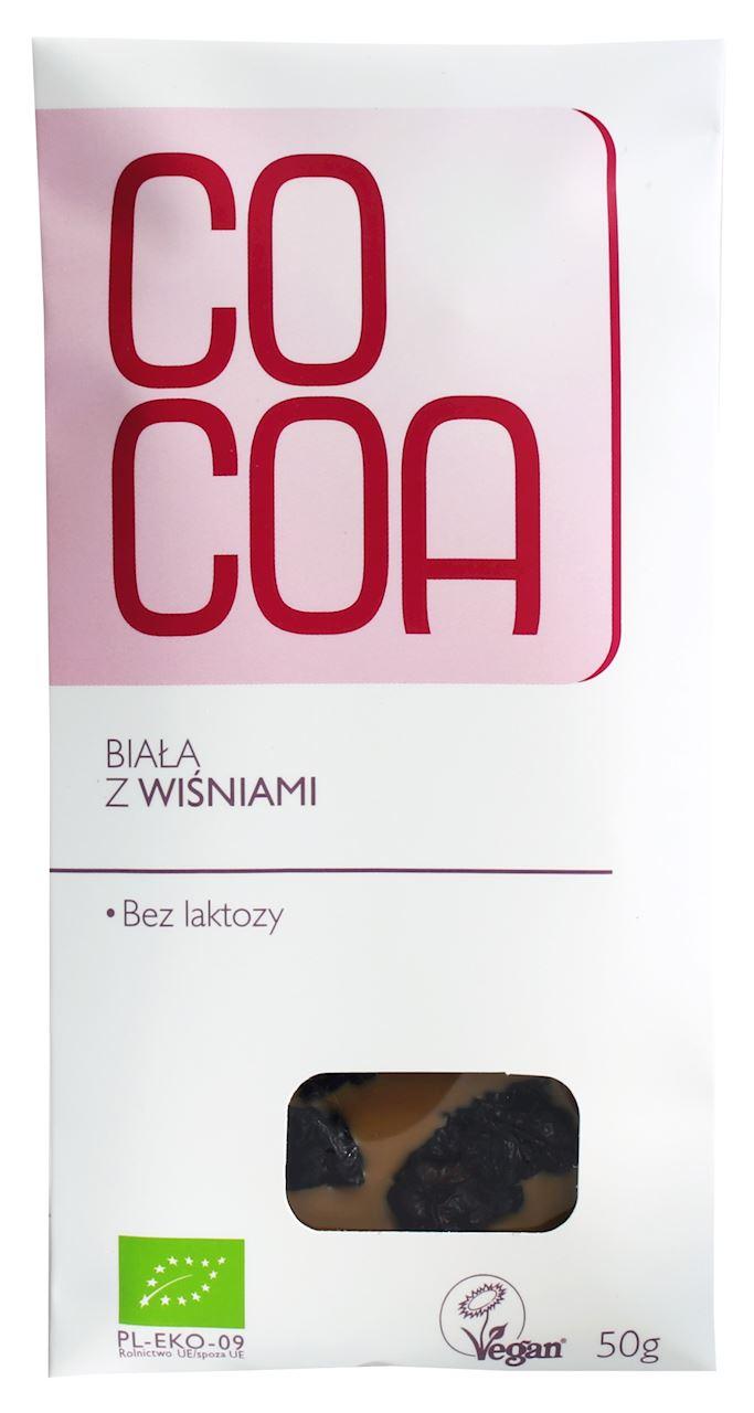 Cocoa czekolada biała z wiśniami BIO