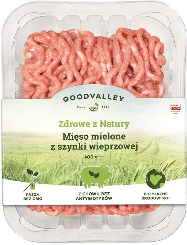 Goodvalley Mięso mielone z szynki wieprzowej z hodowli bez użycia antybiotyków i bez GMO.