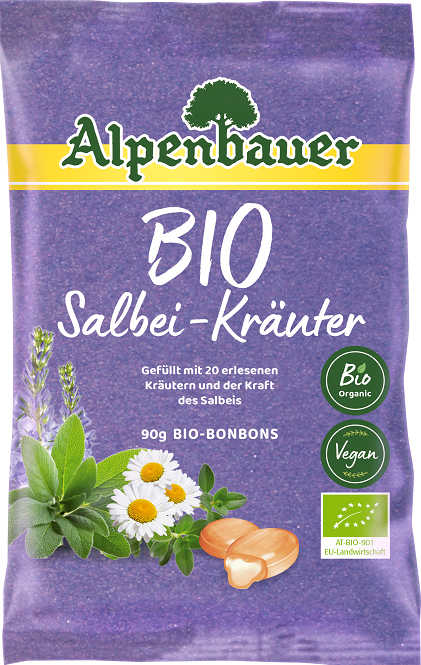 Alpenbauer Cukierki z nadzieniem   o smaku ziołowym z szałwią BIO