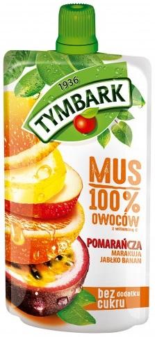 Tymbark Mus 100% owoców pomarańcza, marakuja, jabłko, banan