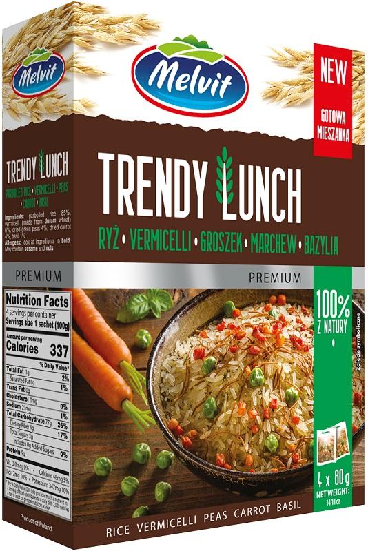 Melvit Trendy Lunch Mieszanka ryż,vermicelli,groszek,marchew,bazylia  4x80 g