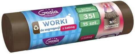 Goshia мешки для раздельного сбора отходов с лентой 35 л Коричневого