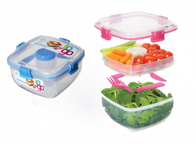 Sistema Pojemnik sałatka ze sztućcami  Salad To Go Blue 1.1L