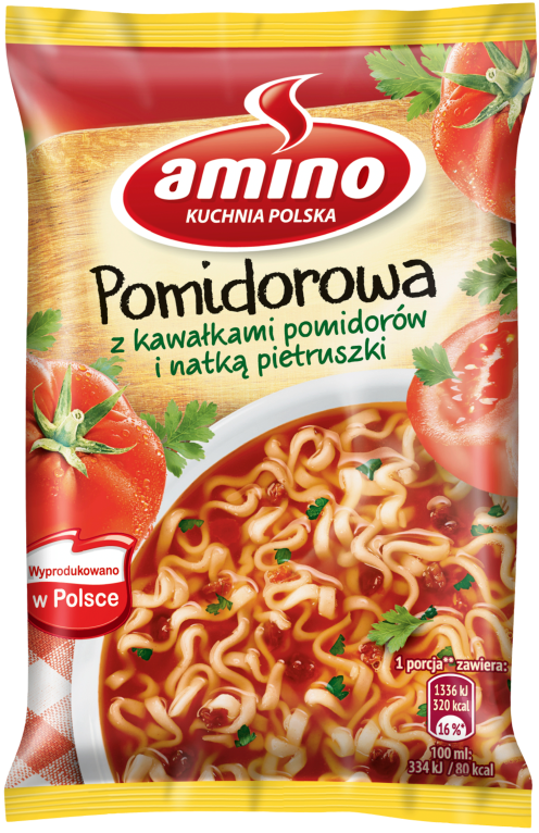 Amino Zupa błyskawiczna pomidorowa z kawałkami pomidorów i natką pietruszki