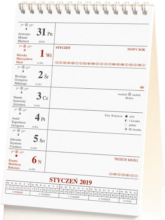 Kalendarz biurkowy stojący pionowy spiralowany 2019 A5