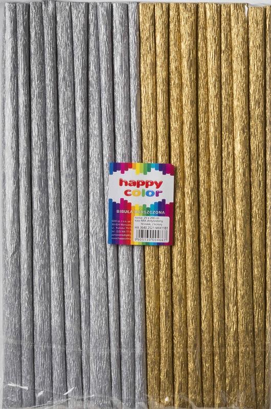 Happy Color Bibuła marszczona 25x200cm mix złoty/srebrny