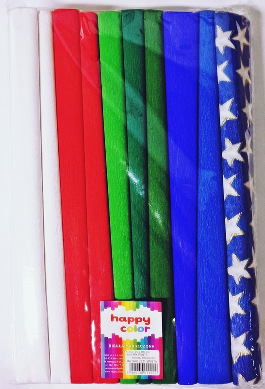 Happy Color Bibuła marszczona 25x200cm mix święta