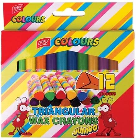 Easy Colours Kredki świecowe  trójkątne Jumbo 12 kolorów