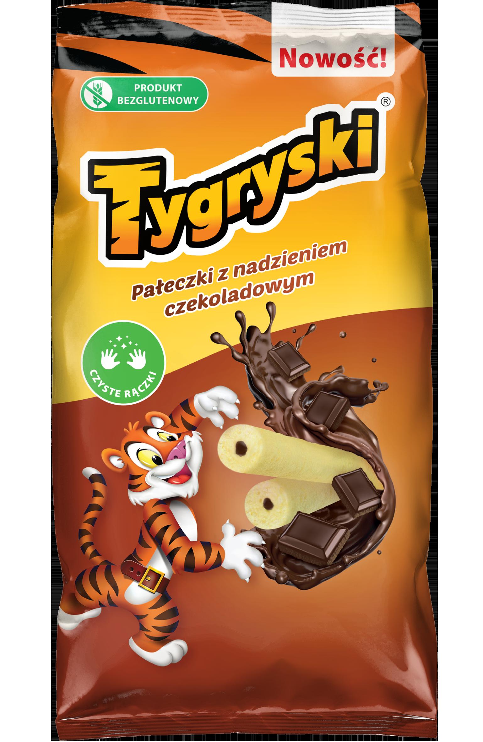 Tygryski pałeczki kukurydziane   z nadzieniem czekoladowym