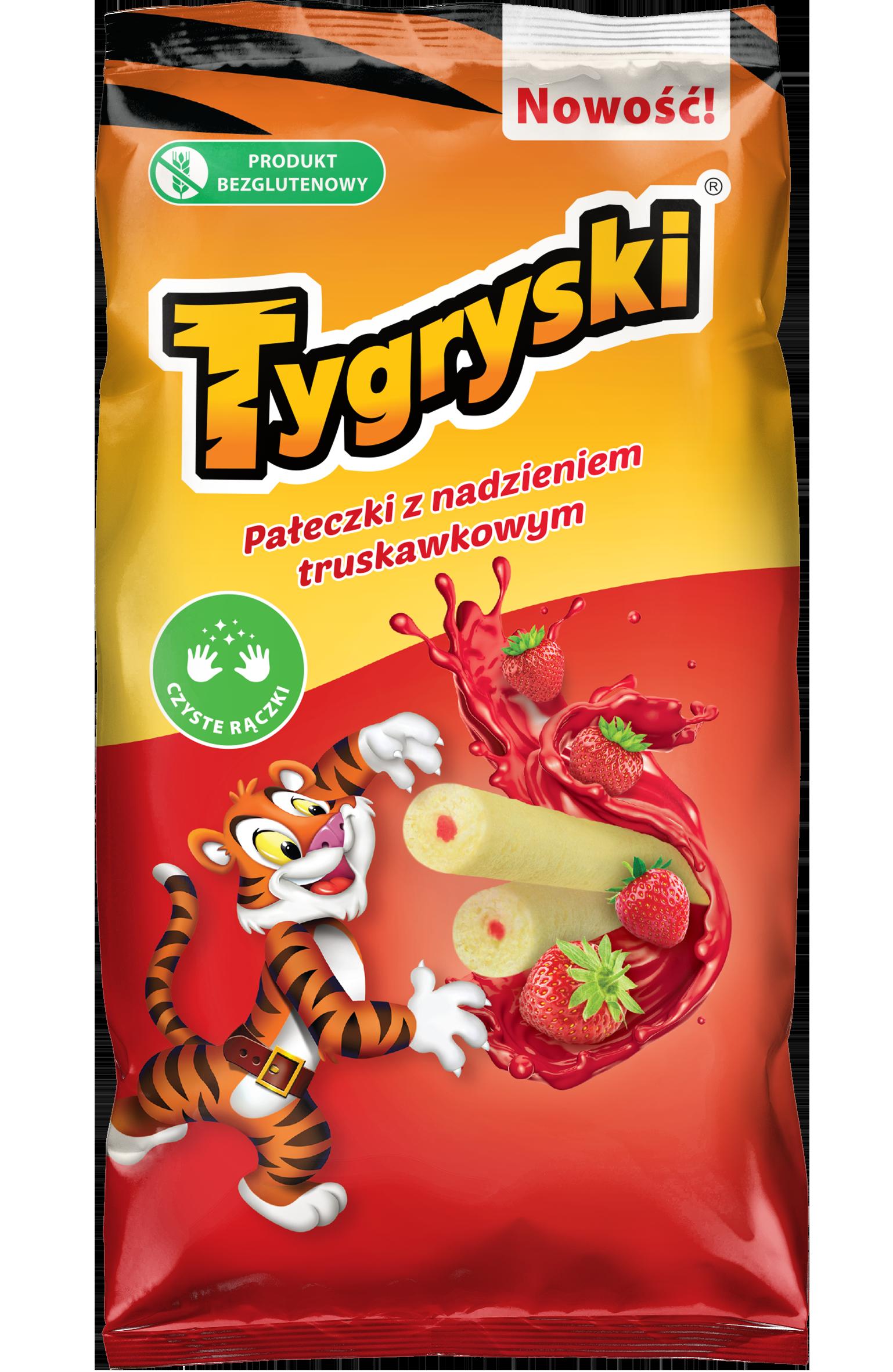 Tigres de palitos de maíz con relleno de fresa.