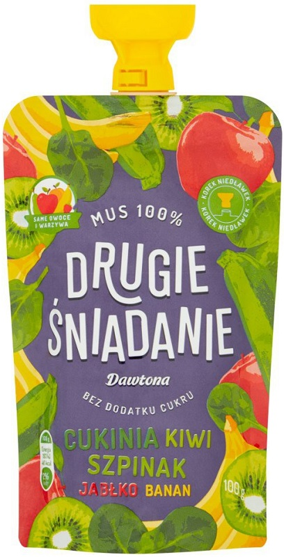 Dawtona Drugie śniadanie Mus 100%  cukinia kiwi szpinak jabłko banan
