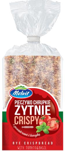 Melvit Crispy Pieczywo chrupkie żytnie z pomidorami i bazylią