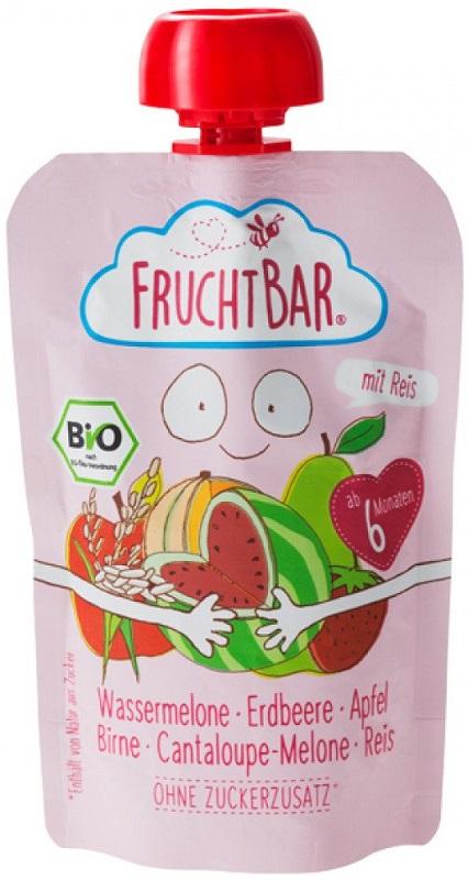 Fruchtbar Mus owocowy z ryżem BIO  arbuz,truskawka, jabłko, gruszka,melon, ryż
