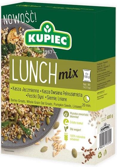 Kupiec Lunch Mix kasza jęczmienna,  kasza owsiana pęczak, dynia, siemię 4 x100 g