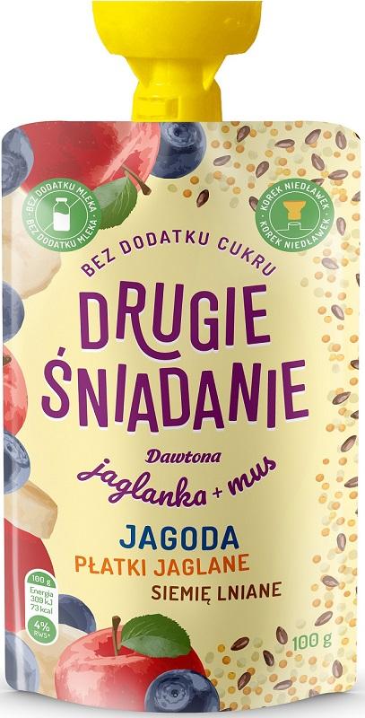 Dawtona Drugie śniadanie Jaglanka + mus jagoda płatki jaglane siemię lniane