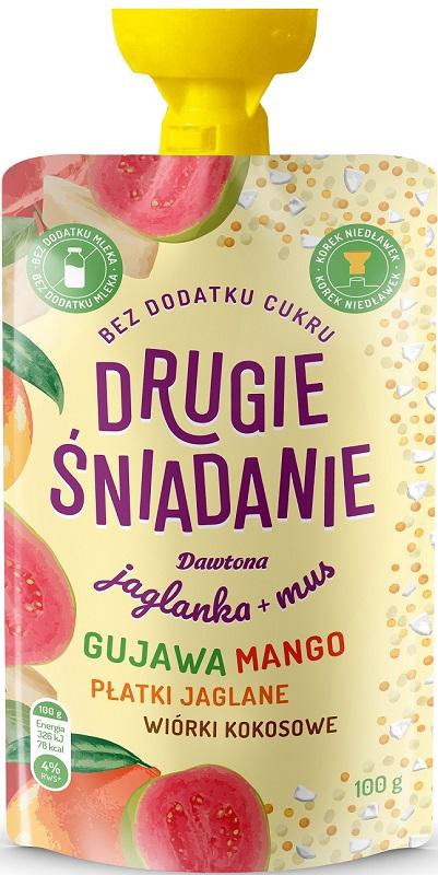 Dawtona Drugie śniadanie Jaglanka + mus gujawa mango płatki jaglane wiórki kokosowe