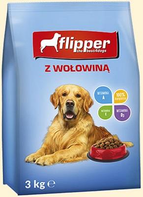 Flipper Pełnoporcjowa karma sucha  dla dorosłych psów wszystkich ras z wołowiną