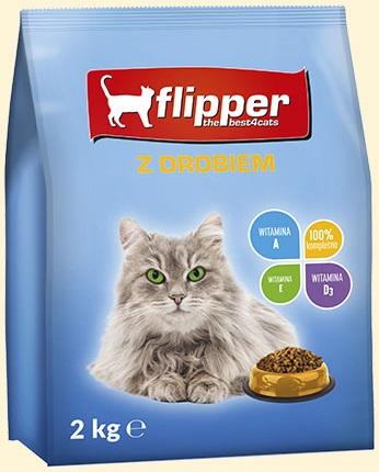 Flipper Pełnoporcjowa karma sucha  dla dorosłych kotów wszystkich ras z drobiem