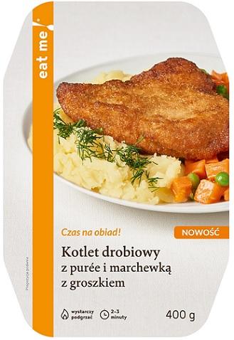 Eat Me Kotlet drobiowy z puree i marchewką z groszkiem