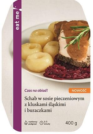 Eat Me Schab w sosie Pieczeniowym z Kluskami śląskimi i buraczkami