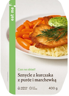 Chicken Schnitzels with Mashed Potatoes and Carrots