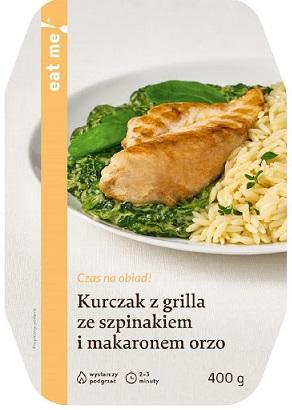 Eat Me Kurczak z Grilla  Ze Szpinakiem i Makaronem Orzo