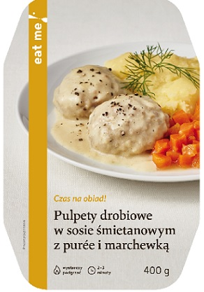 Eat Me Poultry Meatballs in Cream Sauce with Purre and Carrots