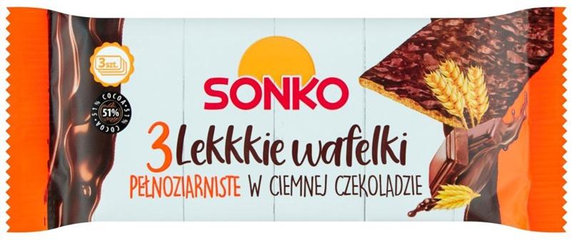 Sonko Lekkie wafelki pełnoziarniste w gorzkiej czekoladzie