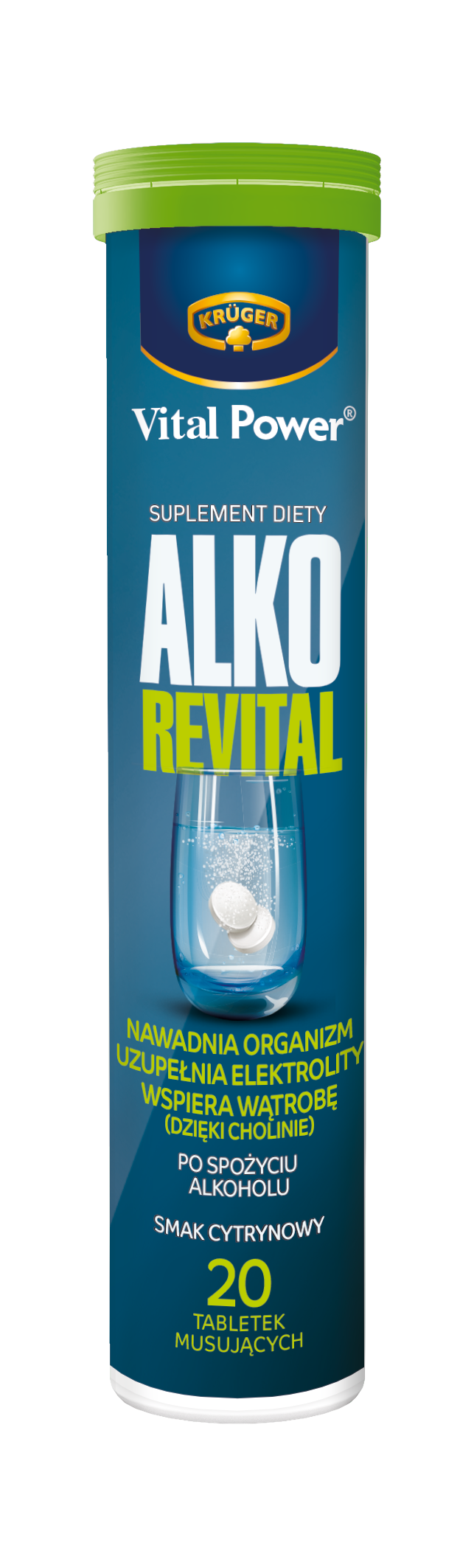 Kruger Effervescent alcohol revital tablets with lemon flavor dietary supplement
