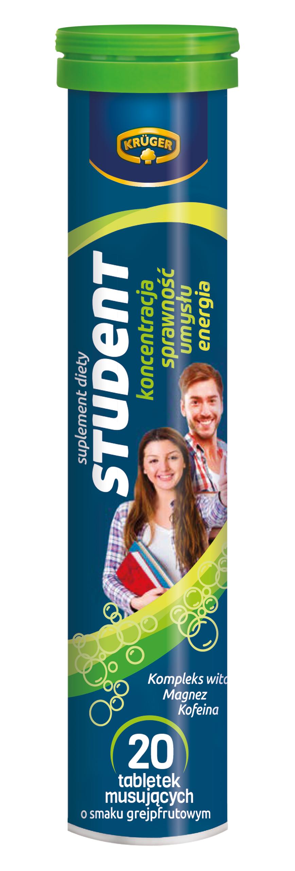 Krüger Student Suplement diety. Tabletki musujące o smaku grejpfrutowym