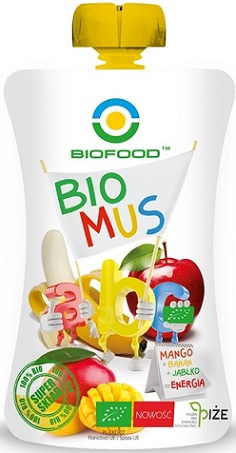 Bio Food Mus  Mango - banan - jabłko  BIO bezglutenowy