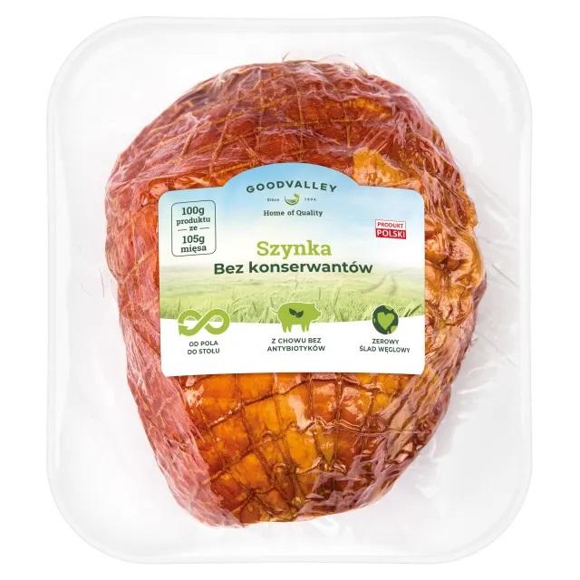 Goodvalley Ham ohne Konservierungsstoffe aus dem Anbau ohne Verwendung von Antibiotika und ohne GVO.