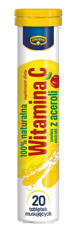 Krüger 100% naturalna Witamina C Tabletki musujące o smaku wiśniowym