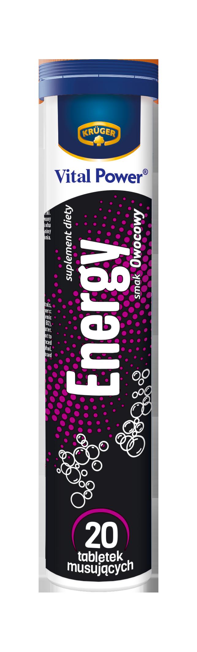 Krüger Energy Suplement diety. 20 tabletek musujących o smaku owocowym.