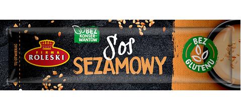 Roleski Sos Sezamowy saszetka z prażonym sezamem